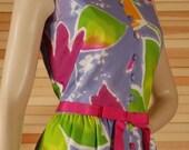 Vintage 70s Tulip Print Long Maxi Dress Tori Richard Size 14 Bust 38