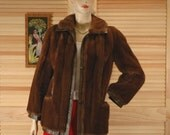 Vintage 1960s Lilli Ann Faux Fur and Leather Coat Size S/M bust 40