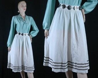 Vintage 1970s Crinkle Cotton Peasant Skirt Small Waist 26