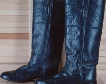 Vintage 80s Justin Blue Riding Boots style 7 C Walking Heel