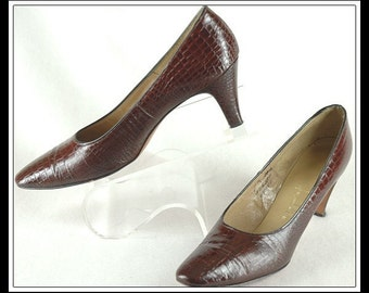 Andrew Geller Reptile Print Leather Shoes 8 1/2 Narrow