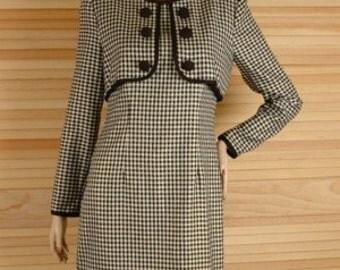 Vintage 70s Black Metallic Check Secretary Dress Size 5 6 S M b38