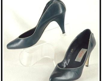 Vintage Blue Leather High Heel Shoes Size 7.5 M