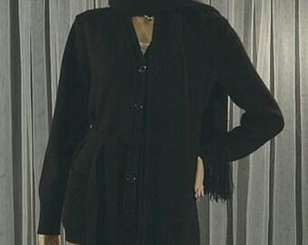 Jantzen Black Sweater w/Attached Scarf Wrap Size S M