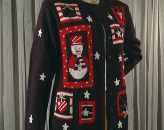 Ugly Sweater Snowman Snowflakes Winter Theme Cardigan Size S M