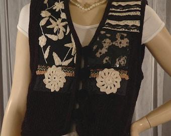 Chenille Rayon Sweater Vest Size L