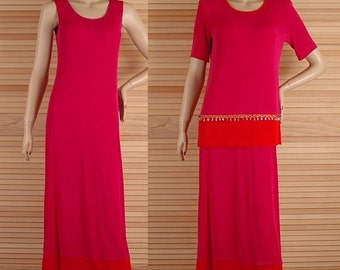 Vintage Slinky Dress 2pc Top Deep Rosy Pink Size 8 Bust 34 Stretchy