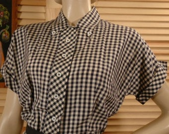 Vintage 60s Navy Blue and White Silk Check Day Dress Size M to L Bust 44