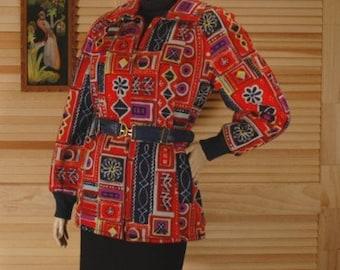 Vintage Colorful Print Winter Jacket Size 11/12