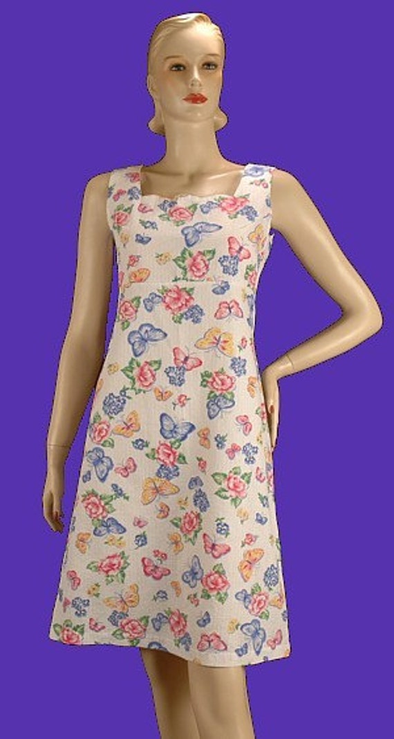 Vintage 80s Simplicity Sample Sundress Butterfly Print Dress S b36