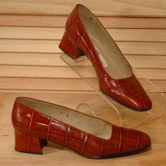 Vintage Etienne Aigner Faux Croc Leather Shoes Size 6 M