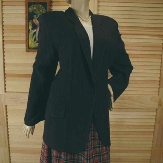Vintage 80s Tamotsu Black Jacket Size 3 Bust 52 Hips 54 Length 29
