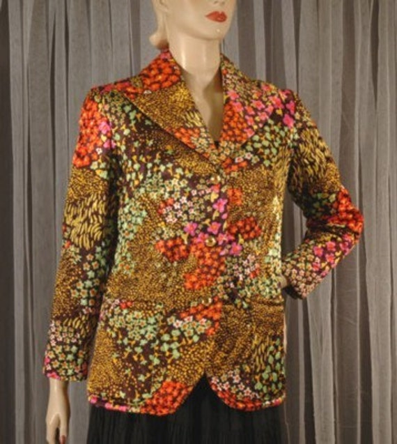 Vintage 60s/70s Evelyn Pearson Floral Lounging Jacket