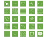Green Things NEW 30 1x1 Inch Squares Hand Drawn Collage Sheets