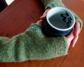 Fingerless gloves, Muted heathery green with fair isle trim - Recycled Wrist warmers / arm warmers,fingerless gloves