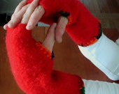 Fingerless gloves, red with multicolored trim Recycled Wrist warmers /arm warmers, fingerless gloves