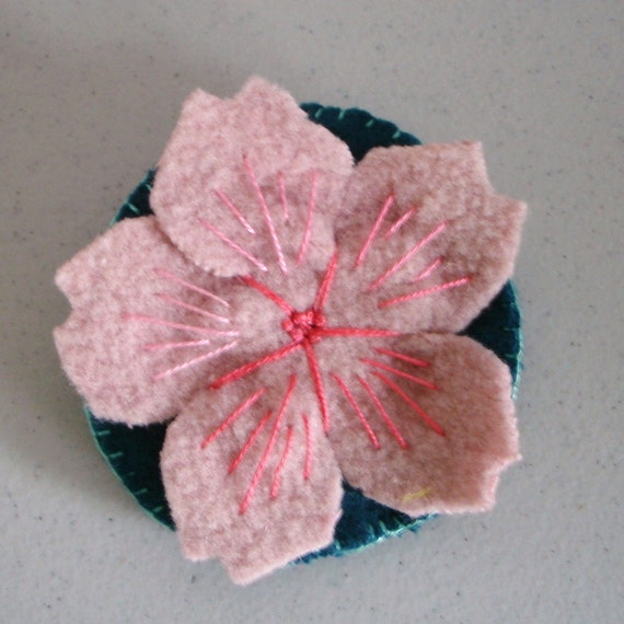 Cherry blossom brooch - felted wool