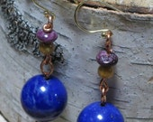 Deep Blue Lapis Earrings -Fossil Coral Spiny Oyster
