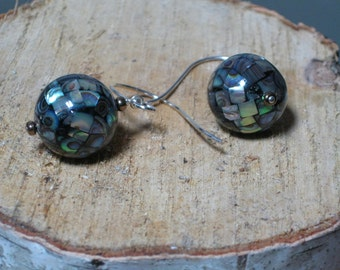 Abalone Earrings - Round Black Shell, Large Sterling Wires