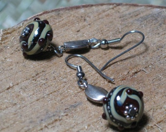 WINE CREAM RONDELLE . .Murano Glass Lampwork Earrings