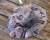 "Running Horse - 1 1/2""  X 2"" Handcrafted Petroglyph Pendant by AZ Artist, Stephanie Hanson"