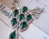50% OFF SALE Vintage large green clear rhinestone pendant X 1