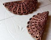 Vintage gingerbread brass half circle puffy filigree stampings X 2