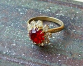 50% OFF SALE Vintage ruby red and clear rhinestone adjustable cocktail ring