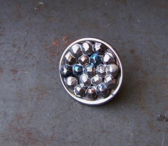 Antique blue tinted cut steel escutcheon button X 1