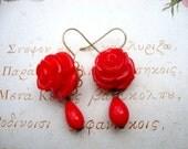 Vintage Inspired RED Rose Earrings