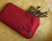 Red Skeleton Key Zippered Pouch / Pencil Case - Cotton