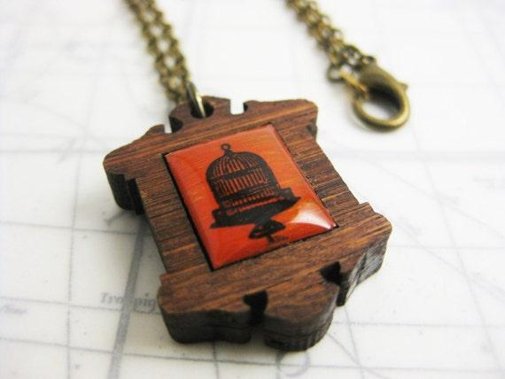 "Red Vintage Bird Cage Victorian Frame Necklace - 19"" bronze chain"
