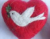 Peace Dove Needle Felted Heart