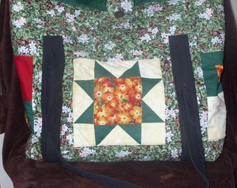 SALE Green\/Gold Quilters Star Bag