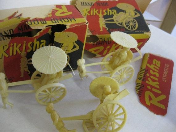 Vintage OJ Occupied Japan Oriental Plastic Rickshaws Supplies Assemblage Altered Art REDUCED SALE