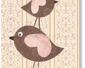 Birds nursery wall art - childrens art - kids room decor - baby girls art - Pink and brown - Pink Wings print from Paris