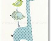Blue green Nursery art baby nursery decor - nursery wall art - children room decor - kids art - personalized - Giraffe Birds - Elegance