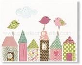 Kids wall art - baby nursery decor - children wall art - nursery wall art - art for kids - Bird - House - Up On The Roof print