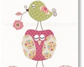 Baby Girl Nursery Decor Bird nursery Owl nursery art  kids decor pink and green nursery wall art Kids art Chic And Shabby