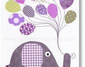 Nursery art prints - baby nursery decor - nursery wall art - nursery elephant - Balloon - I Believe I Can Fly print