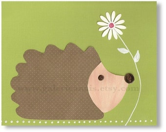 Baby nursery print - childrens art print - kids room decor - Hedgehog - Mister Herisson print
