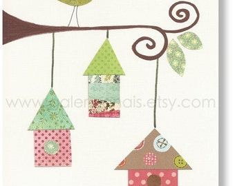 Kids art baby nursery decor - nursery wall art - kids wall art - personalized - nursery bird - Birdhouses print