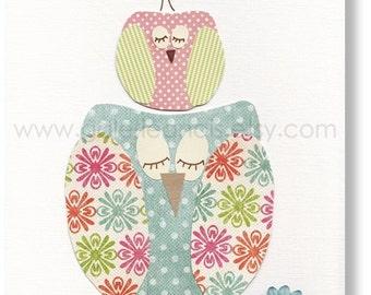 Baby Girl Nursery Decor Owls nursery art personalized  kids wall art bird nursery wall art - Standing Together print