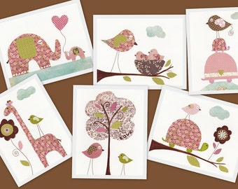 Nursery art prints baby nursery decor nursery wall art children room decor turtle giraffe elephant bird set of Six prints