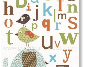 Kids art Alphabet nursery decor - baby nursery print kids room decor - children art - Elephant Birds - Best Friends Alphabet print