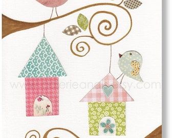 Kids wall art - baby nursery decor - nursery wall art - children wall art - personalized - birds nursery - Birdhouses print