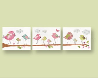 Nursery art baby nursery decor nursery wall art nursery bird kids art baby art Set of 3 Prints -  Les Oiseaux by GalerieAnais