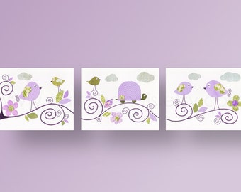 Baby Girl nursery decor Turle nursery wall art purle lavender nursery Bird nursery art kids art baby art - Set of 3 Prints -  Les Oiseaux