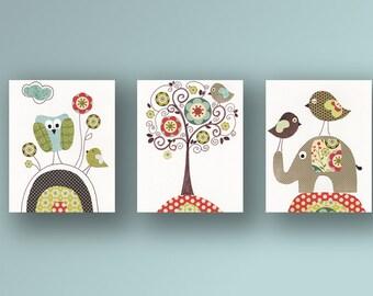 Vintage Nursery art print baby nursery decor baby room decor Kids art elephant owl bird Vintage Tree Set of three prints