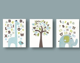 Baby boy nursery decor art ABC nursery wall art Home Décor kids art  alphabet giraffe number elephant bird tree playtoom blue green